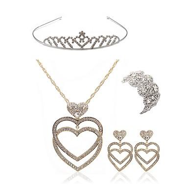 בגדי ריקוד נשים סט תכשיטים - יהלום מדומה לב ארופאי, אופנתי לִכלוֹל נזרים סטי תכשיטי כלה זהב עבור חתונה Party