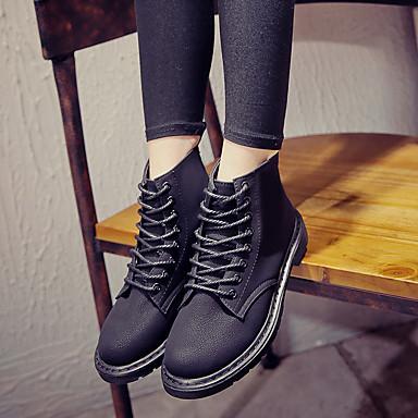 בגדי ריקוד נשים נעליים PU סתיו / חורף נוחות מגפיים עקב נמוך בוהן סגורה מגפונים\מגף קרסול שחור