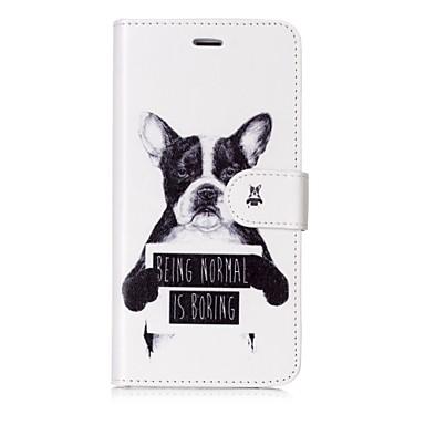 מגן עבור Apple iPhone X iPhone 8 מחזיק כרטיסים ארנק נפתח-נסגר מגנטי תבנית כיסוי מלא כלב מילה / ביטוי קשיח עור PU ל iPhone X iPhone 8 Plus