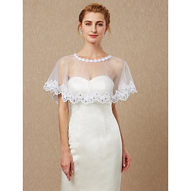 ללא שרוולים תחרה / טול חתונה / מסיבה\אירוע ערב כיסויי גוף לנשים עם אפליקציות / תחרה גלימות