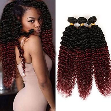 baratos Extensões de Cabelo Natural-3 pacotes 4 pacotes Cabelo Brasileiro Kinky Curly 10A Cabelo Humano Âmbar Âmbar Tramas de cabelo humano Extensões de cabelo humano / Crespo Cacheado