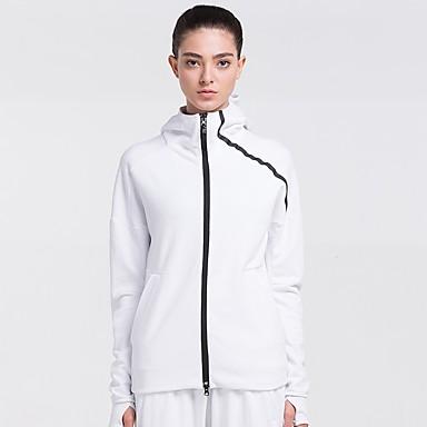 בגדי ריקוד נשים ג'קט לריצה - לבן, שחור ספורט אימונית שרוול ארוך לבוש אקטיבי ייבוש מהיר