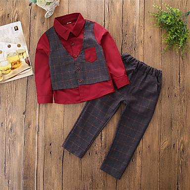 סט של בגדים כותנה פוליאסטר אביב סתיו שרוול ארוך Party יומי משובץ טלאים בנים פשוט יום יומי פול אודם