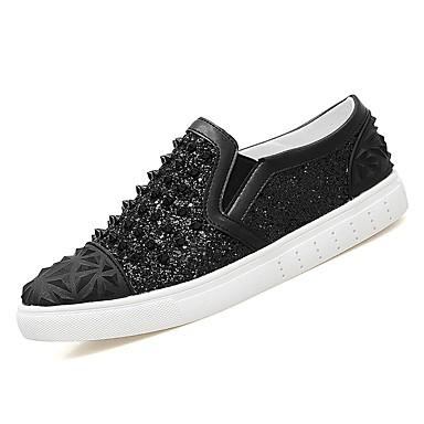 נעליים PU אביב סתיו נוחות נעליים ללא שרוכים ניטים ל קזו'אל שחור כסף
