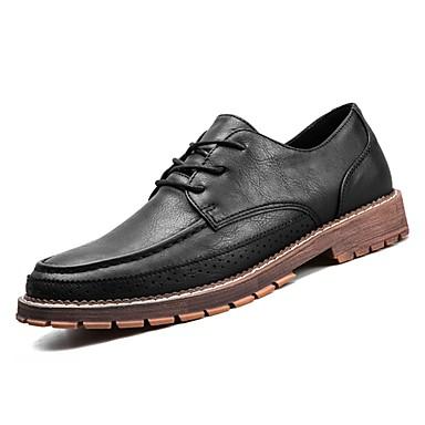 נעליים PU אביב סתיו נוחות נעלי אוקספורד ל קזו'אל שחור חום חאקי