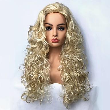 פאות סינתטיות מתולתל בלונד שיער סינטטי בלונד פאה ארוך ללא מכסה בלונדינית StrongBeauty