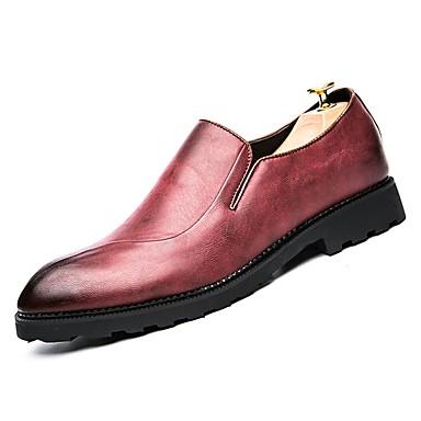 לבש נעליים עור אביב / סתיו נוחות נעליים ללא שרוכים שחור / אדום