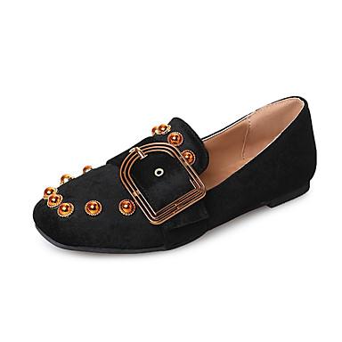 בגדי ריקוד נשים נעליים PU אביב / סתיו נוחות / מגפיים אופנתיים שטוחות שטוח בוהן עגולה פנינים שחור / ורוד