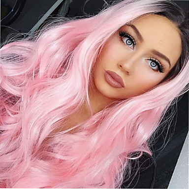 synthetic lace front wig wavy pink synthetic hair ombre