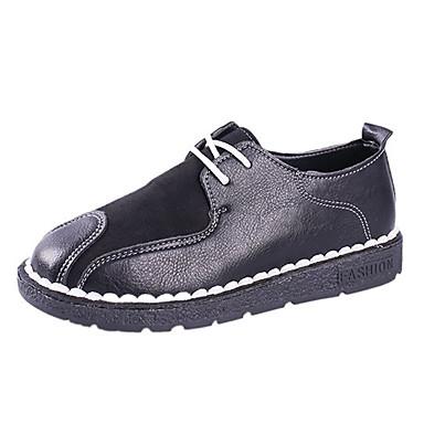בגדי ריקוד נשים PU אביב / קיץ נוחות נעלי אוקספורד שטוח בוהן עגולה שחור / אפור / צהוב