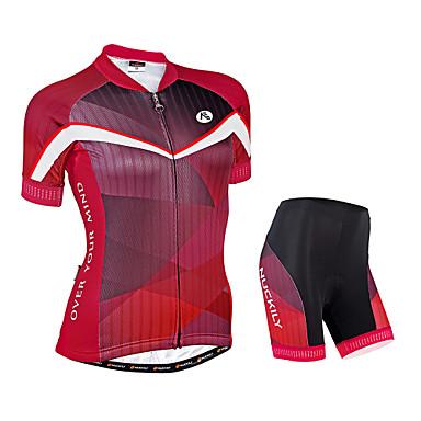 Nuckily Damen Kurzarm Fahrradtriktot mit Fahrradhosen - Rot Geometrisch Fahhrad Shorts/Laufshorts Trikot/Radtrikot Kleidungs-Sets,