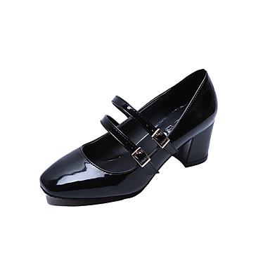 Naisten Kengät PU Kesä Comfort Valopohjat Sandaalit Block Heel Avokkaat Soljilla Tupsuilla varten Puku Valkoinen Musta Burgundi