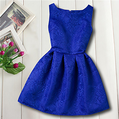 Χαμηλού Κόστους Φορέματα για κορίτσια-Παιδιά Κοριτσίστικα Βασικό Καθημερινά Λουλούδι Ζακάρ Αμάνικο Ρεϊγιόν Φόρεμα Κόκκινο