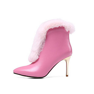 בגדי ריקוד נשים נעליים עור נאפה Leather / עור סתיו / חורף נוחות / מגפיים אופנתיים מגפיים עקב סטילטו מגפונים\מגף קרסול שחור / ורוד