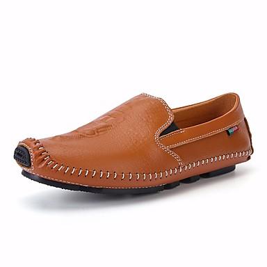 בגדי ריקוד גברים נעליים עור אביב / סתיו נוחות נעליים ללא שרוכים שחור / חום / כחול
