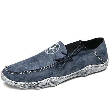 בגדי ריקוד גברים מוקסין עור נאפה Leather אביב / סתיו נעליים ללא שרוכים אפור / כחול / חאקי / מסיבה וערב / מסיבה וערב