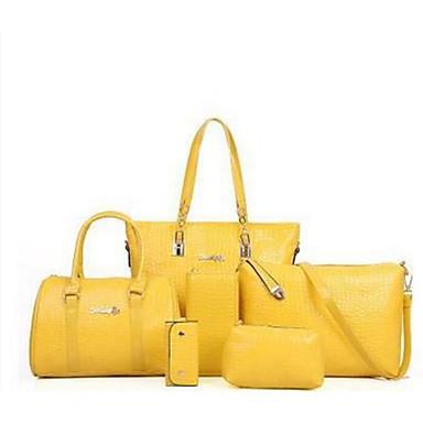 e539e08cc6 Γυναικεία Τσάντες PU Σετ τσάντα 6 σελ. Σετ πορτοφολιών Φερμουάρ Μπεζ    Κίτρινο   Φούξια
