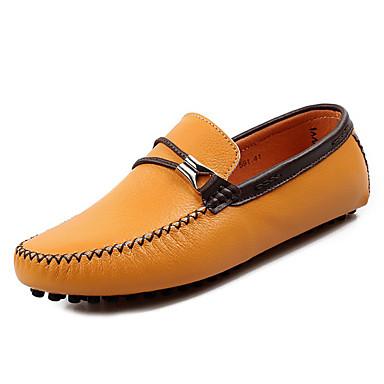בגדי ריקוד גברים נעליים עור אביב / סתיו סוליות מוארות נעליים ללא שרוכים שחור / צהוב / חום