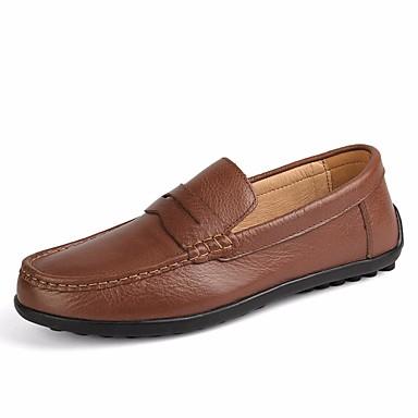 בגדי ריקוד גברים נעליים עור סתיו / חורף נוחות נעליים ללא שרוכים שחור / חום / ירוק צבא