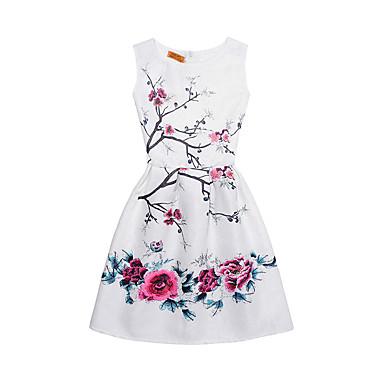 お買い得  女児 ドレス-子供 女の子 ストリートファッション 日常 お出かけ プリント ノースリーブ コットン ドレス ホワイト / キュート