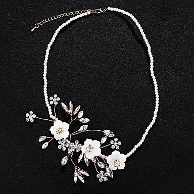 בגדי ריקוד נשים קריסטל סט תכשיטים - דמוי פנינה פרחוניים / בוטניים, פרח ארופאי לִכלוֹל שרשרת זהב עבור חתונה / Party / Halloween