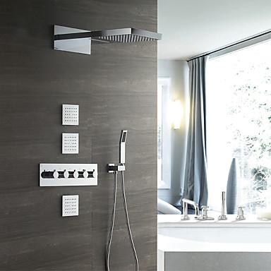 עכשווי מותקן על הקיר מקלחת גשם שפורפרת יד כלולה תרמוסטטי שסתום קרמי חמש ידיות שמונה חורים כרום, ברז למקלחת