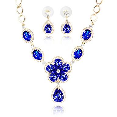 בגדי ריקוד נשים סט תכשיטים - יהלום מדומה אתני, אופנתי לִכלוֹל שרשרת כחול עבור חתונה Party