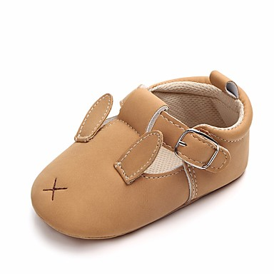 בנות נעליים דמוי עור אביב קיץ נוחות / צעדים ראשונים / נעליים לעריסה שטוחות פפיון / סקוטש ל צהוב / חום