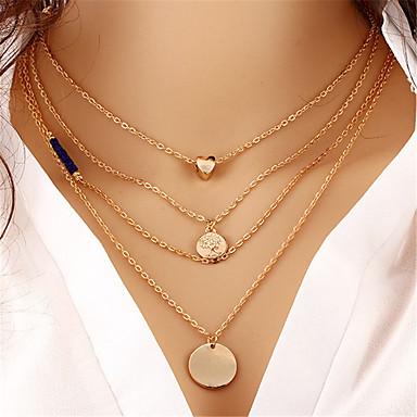 בגדי ריקוד נשים שכבות שרשראות Layered - לב אופנתי, שכבות מרובות זהב שרשראות תכשיטים 1 עבור מתנה, רחוב