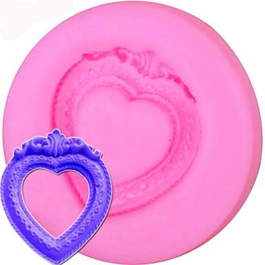 תבנית עוגה סיליקון וינטג לב מסגרת המראה עובש פונדנט cupcake חותך כלי אפייה