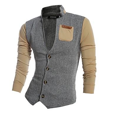 קולור בלוק פשוט כותנה, חולצה - בגדי ריקוד גברים / עומד / שרוול ארוך