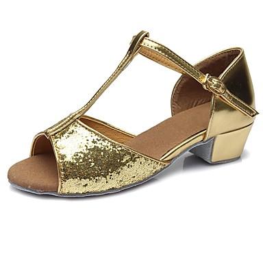 נעליים לטיניות Paillette / דמוי עור סנדלים / עקבים אבזם / Paillette עקב עבה מותאם אישית נעלי ריקוד זהב