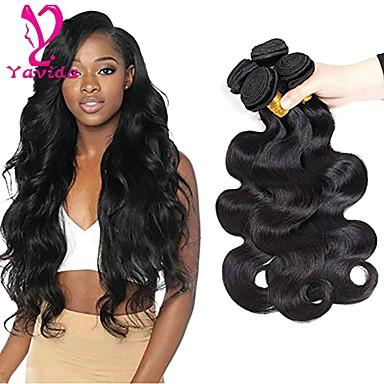 4 חבילות שיער ברזיאלי Body Wave שיער בתולי טווה שיער אדם שוזרת שיער אנושי 8 א תוספות שיער אדם