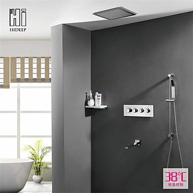 עכשווי מותקן על הקיר מקלחת גשם שפורפרת יד כלולה תרמוסטטי שסתום קרמי ארבע ידיות חמישה חורים כרום, ברז למקלחת