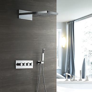 עכשווי מותקן על הקיר מקלחת גשם מפל מים שפורפרת יד כלולה תרמוסטטי שסתום קרמי ארבעה מטפל בשלושה חורים כרום, ברז למקלחת
