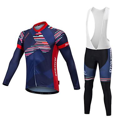 Malciklo Męskie Długi rękaw Koszulka i spodnie z szelkami na rower - Light Purple Dark Purple Rower Zestawy odzieży, Quick Dry,