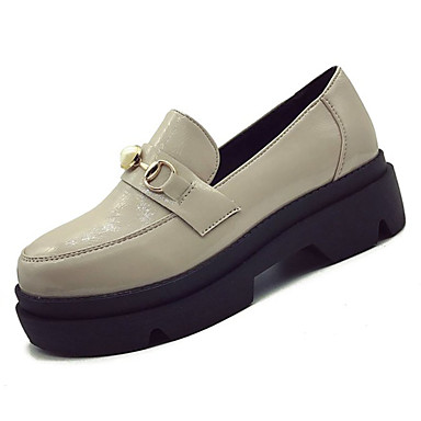 בגדי ריקוד נשים עור פטנט אביב נוחות נעליים ללא שרוכים שטוח בוהן עגולה פנינים שחור / בז'