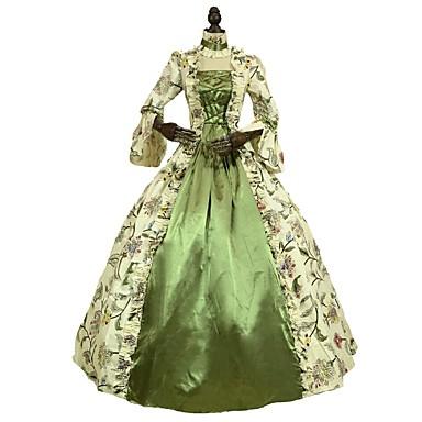 רוקוקו ויקטוריאני תחפושות בגדי ריקוד נשים שמלות ירוק וינטאג Cosplay 100% כותנה אורך שרוול 3/4 בלון\מנופח עד הריצפה ארוך נשף מידות גדולות מותאם אישית