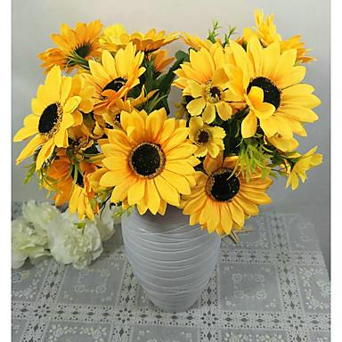 פרחים מלאכותיים 1 ענף פסטורלי סגנון חמניות פרחים לשולחן