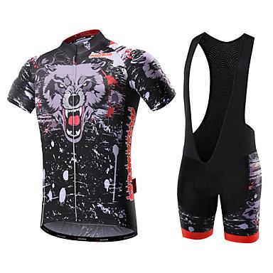 Malciklo Herre Kortermet Sykkeljersey med bib-shorts - Hvit Svart Britisk Sykkel Klessett, 3D Pute, Fort Tørring, Pustende, Vår Sommer,