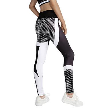 Damskie Patchwork Spodnie do yogi Sport Kwiatowy / roślinny Getry Bieganie, Fitness, Siłownia Odzież sportowa Joga Elastyczny / a