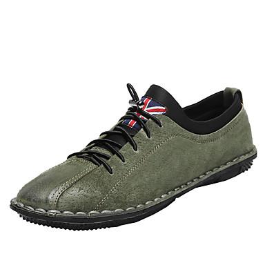 בגדי ריקוד גברים אור סוליות עור חזיר אביב / סתיו נעלי ספורט שחור / ירוק / חאקי
