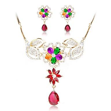 בגדי ריקוד נשים סט תכשיטים - יהלום מדומה פרח לִכלוֹל שרשרת זהב עבור חתונה ארוסים