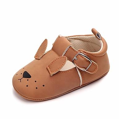 בנות נעליים דמוי עור אביב / סתיו נוחות / צעדים ראשונים / נעליים לעריסה שטוחות פפיון / סקוטש ל בז' / צהוב