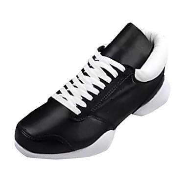 בגדי ריקוד גברים עור אביב / סתיו נוחות נעלי אתלטיקה הליכה לבן / שחור / שחור לבן
