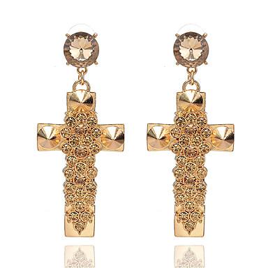 בגדי ריקוד נשים קריסטל עגילי טיפה - קריסטל, יהלום מדומה צלב אופנתי זהב עבור Party רשמי