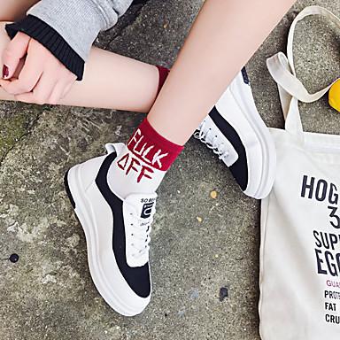 Blanco Tacón Rojo Negro de Mujer Otoño redondo Plano deporte Goma Primavera Zapatos Confort Dedo 06546904 Zapatillas n8nAq76w