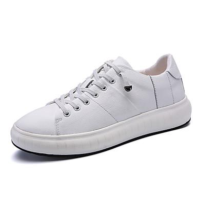 בגדי ריקוד גברים עור אביב / סתיו נוחות נעלי ספורט לבן / שחור / שחור לבן
