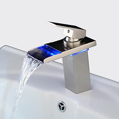 Hedendaagse Middenset Waterherfst LED Keramische ventiel Een Hole Single Handle Een Hole Nikkel Geborsteld, Wastafel kraan