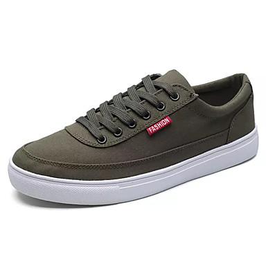 男性用 靴 繊維 春 秋 コンフォートシューズ スニーカー のために カジュアル ブラック グレー グリーン